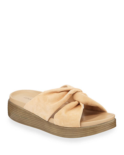 Freea Knotted Suede Slide Sandals