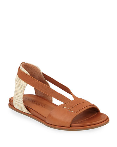 Lark Elastic-Strap Leather Sandals
