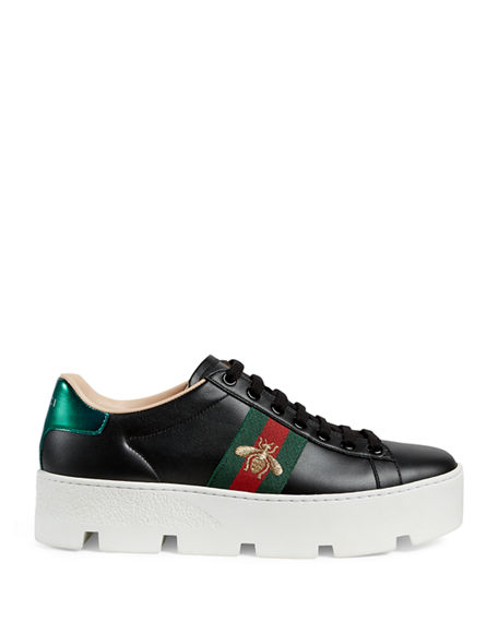 Image 2 of 4: Gucci New Ace Platform Bee Sneakers
