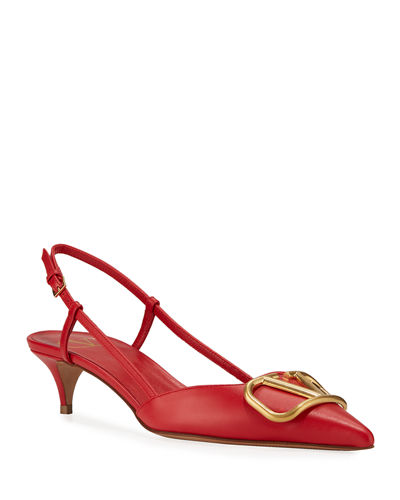 Leather Medallion Slingback pumps