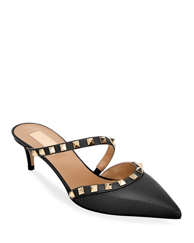 Rockstud Leather Kitten-Heel Mules