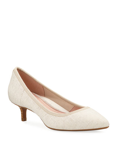Niki Stretch Linen Kitten-Heel Pumps