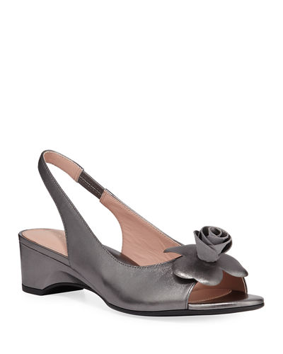 Taryn Rose Neva Metallic Demi-Wedge Flower Sandals