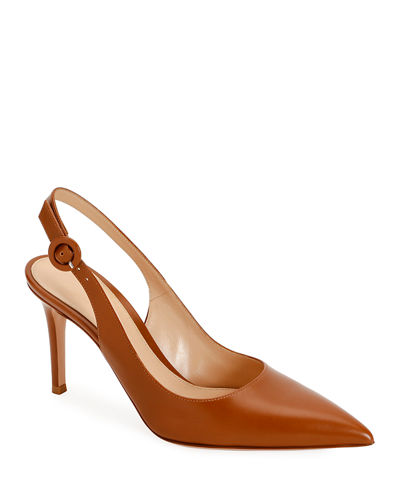 Smooth Leather Slingback Pumps
