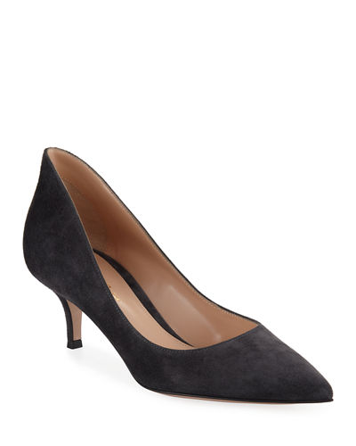 High-Back Suede Low-Heel Pumps