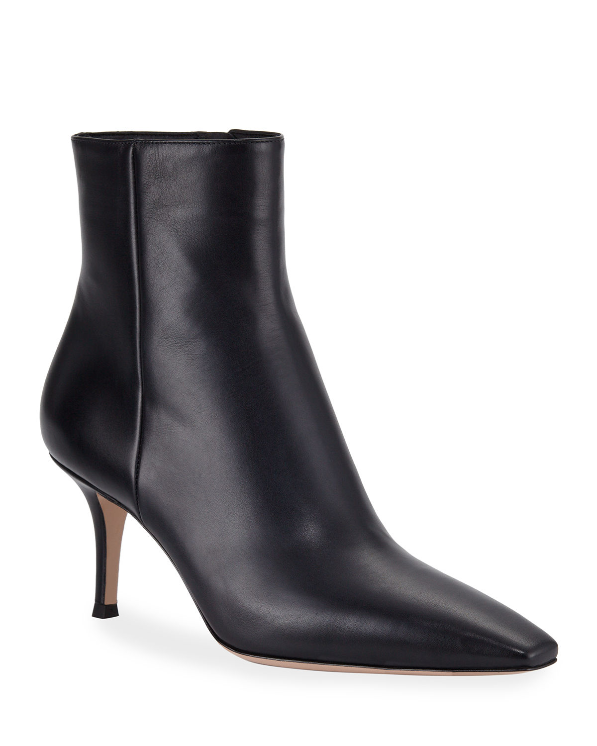 Leather Mid-Heel Booties