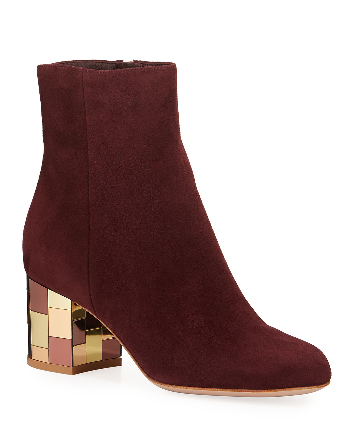 Suede Mirror-Heel Ankle Booties