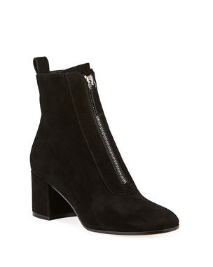 8391f3c51aace Gianvito Rossi Suede Front-Zip Ankle Booties