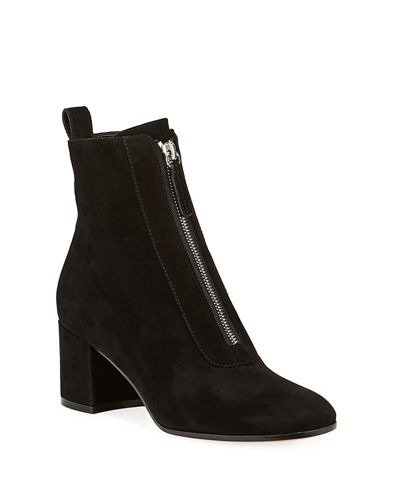 Gianvito Rossi Suede Front-Zip Ankle Booties
