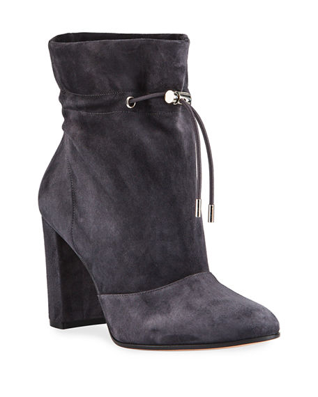 Image 1 of 3: Gianvito Rossi Suede Chunky-Heel Booties