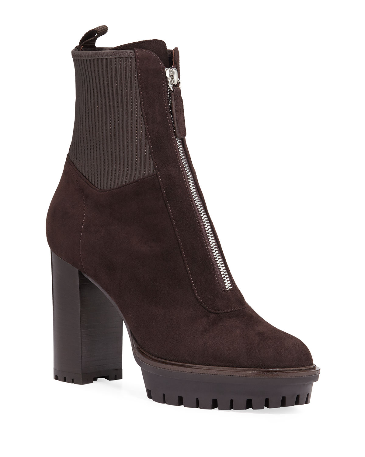 Suede Lug-Sole Zip Booties