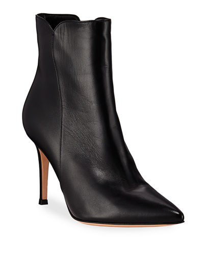 Levy Notched Leather 85mm Booties