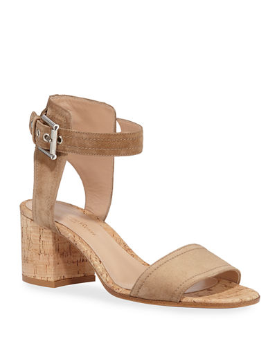 Suede Cork-Heel City Sandals