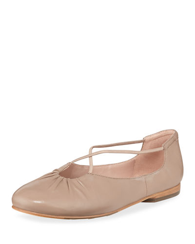 Alessandra Cross-Strap Leather Ballet Flats