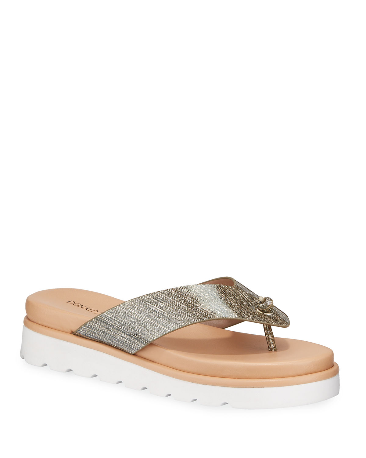 Leanne Glittered Patent Thong Sandals