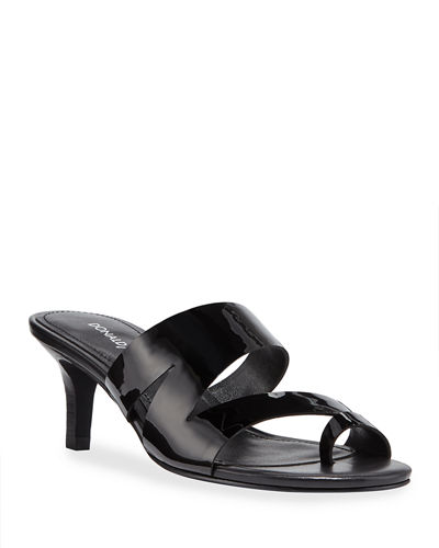 Klarisa Asymmetric Patent Slide Sandals