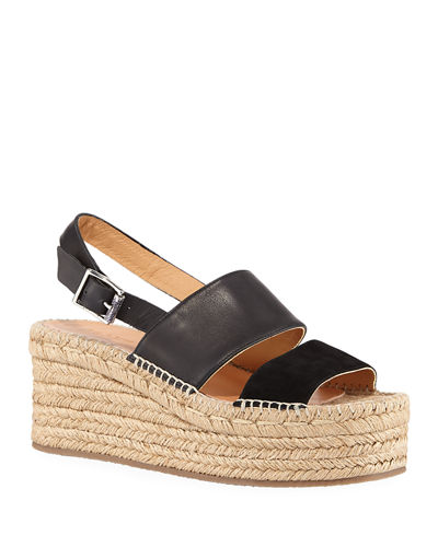 Edie Leather Slingback Platform Sandals