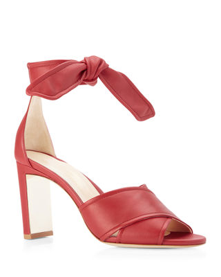 Marion Parke Leah Metallic Leather Ankle-Tie Sandals