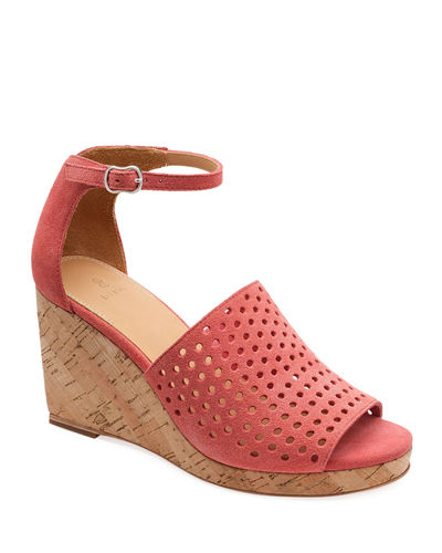 Zelda Perforated Wedge Sandals