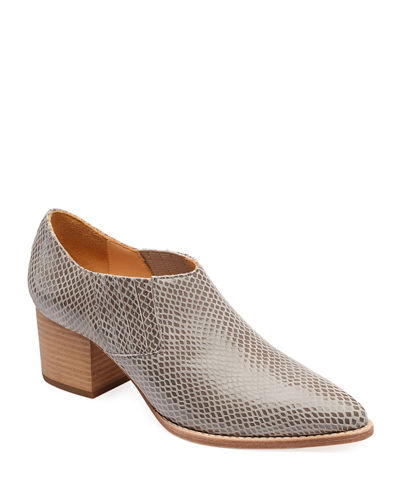 Tina Snake-Print Leather Ankle Booties