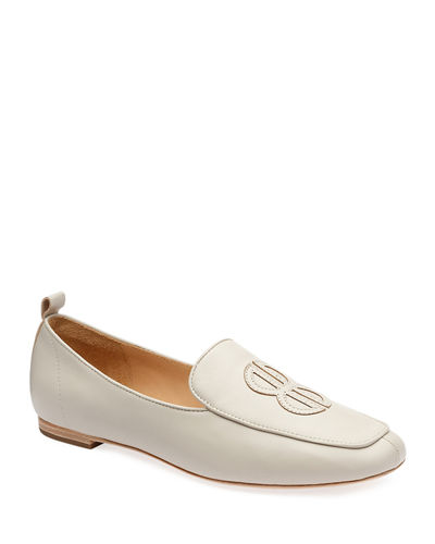 Aiden Leather Logo Flats