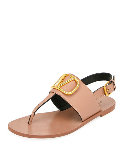 VLOGO Flat Leather Thong Sandals