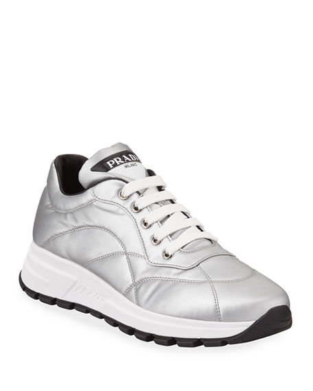 Image 1 of 3: Prada Metallic Nylon Lace-Up Trainer Sneakers
