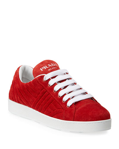 Quilted Suede Low-Top Sneakers
