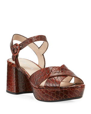 c225882d20b5 Prada Crocodile-Print Crisscross Sandals