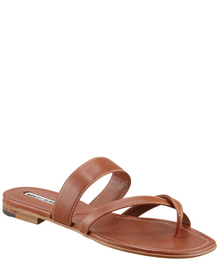 Manolo Blahnik Susa Flat Leather Sandals