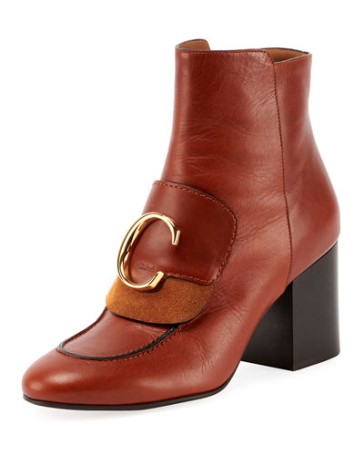 C Leather Zip Booties
