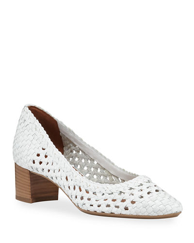 Pasha Woven Leather Block-Heel Pumps