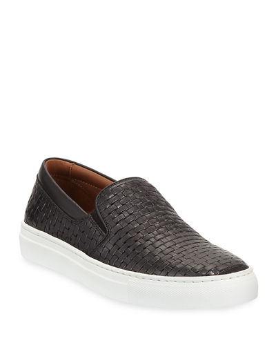 Ashlynn Woven Leather Slip-On Sneakers