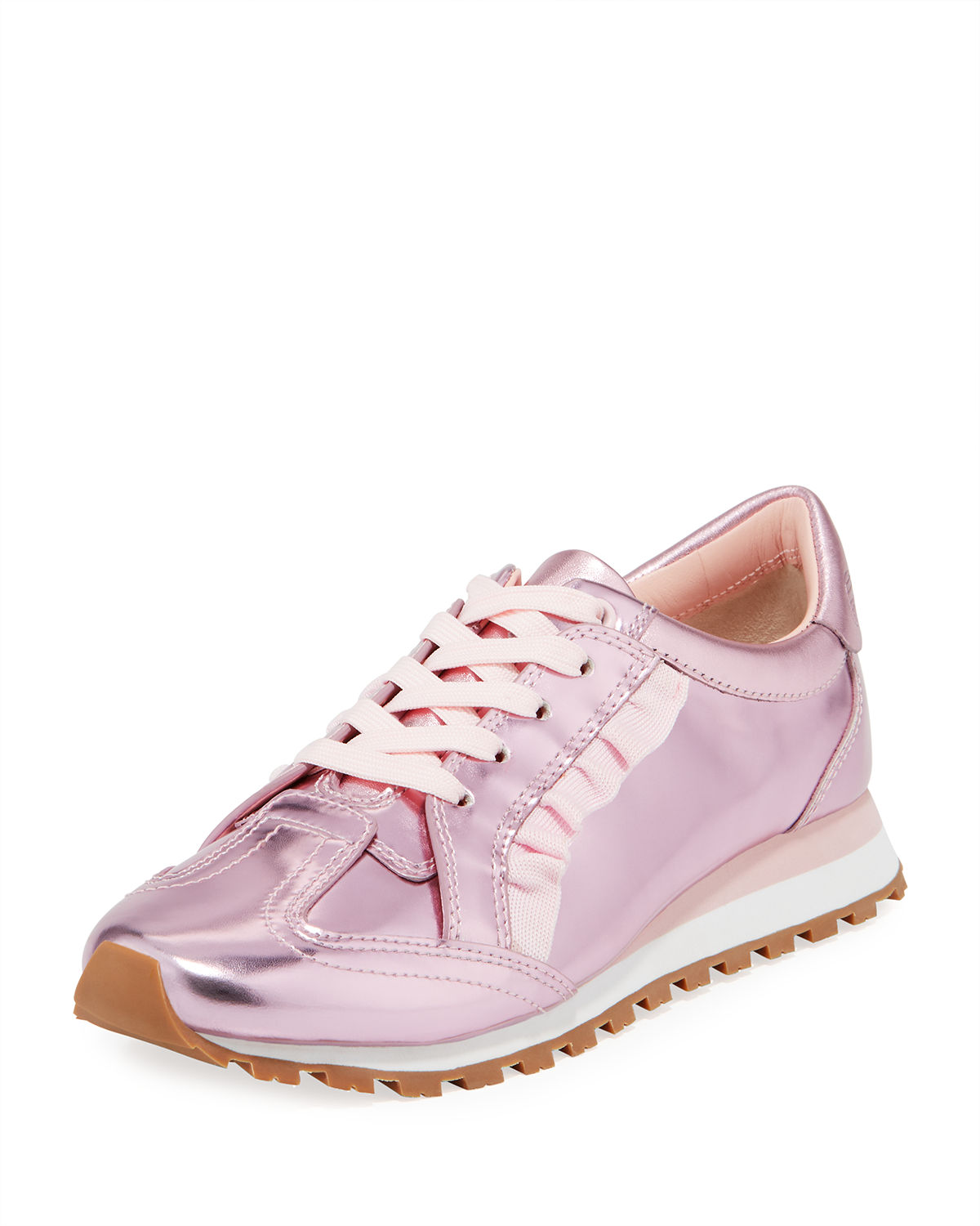 Tory Sport RUFFLED METALLIC LEATHER TRAINER SNEAKERS