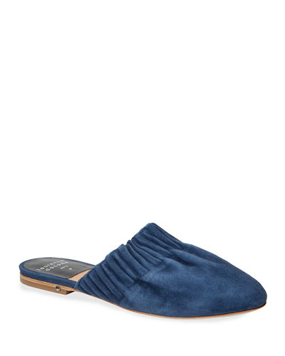 Ruched Flat Suede Mules