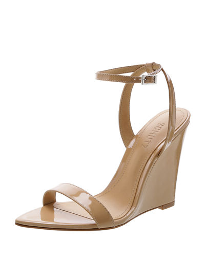 Raquel Patent Wedge Sandal Pumps