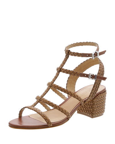 Rosalia Braided Leather Caged Sandals