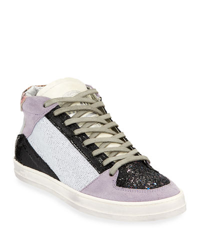 Queens Sparkle Glittered Mid-Top Sneakers