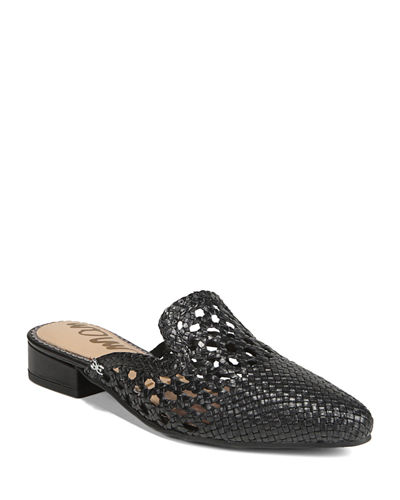 Clara Woven Leather Flat Mules