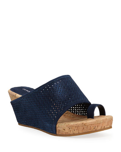 Geana Suede Cork-Wedge Sandals