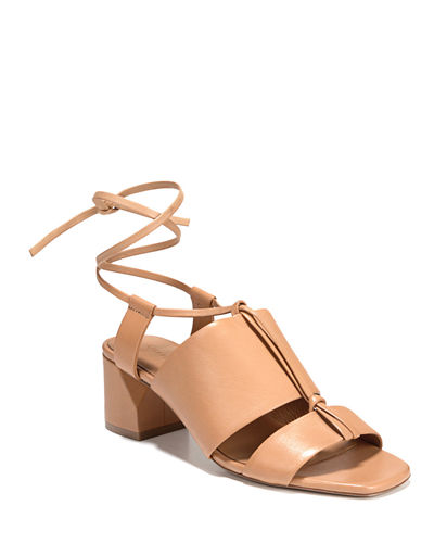 Dunaway Leather Ankle-Tie Sandals