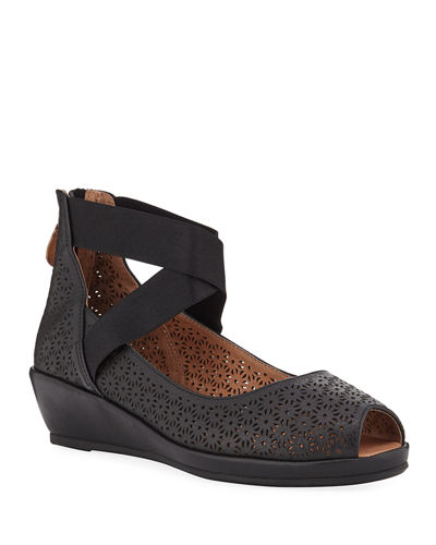 Lisa Perforated Demi-Wedge Comfort Sandals