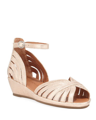 Leah Metallic Demi-Wedge Comfort Sandals