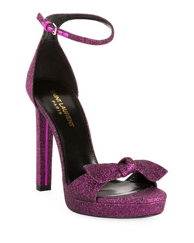 Saint Laurent Hall Glittered Platform Sandals