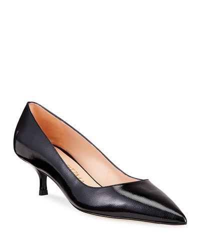 Cindy Patent Leather Mid-Heel Pumps