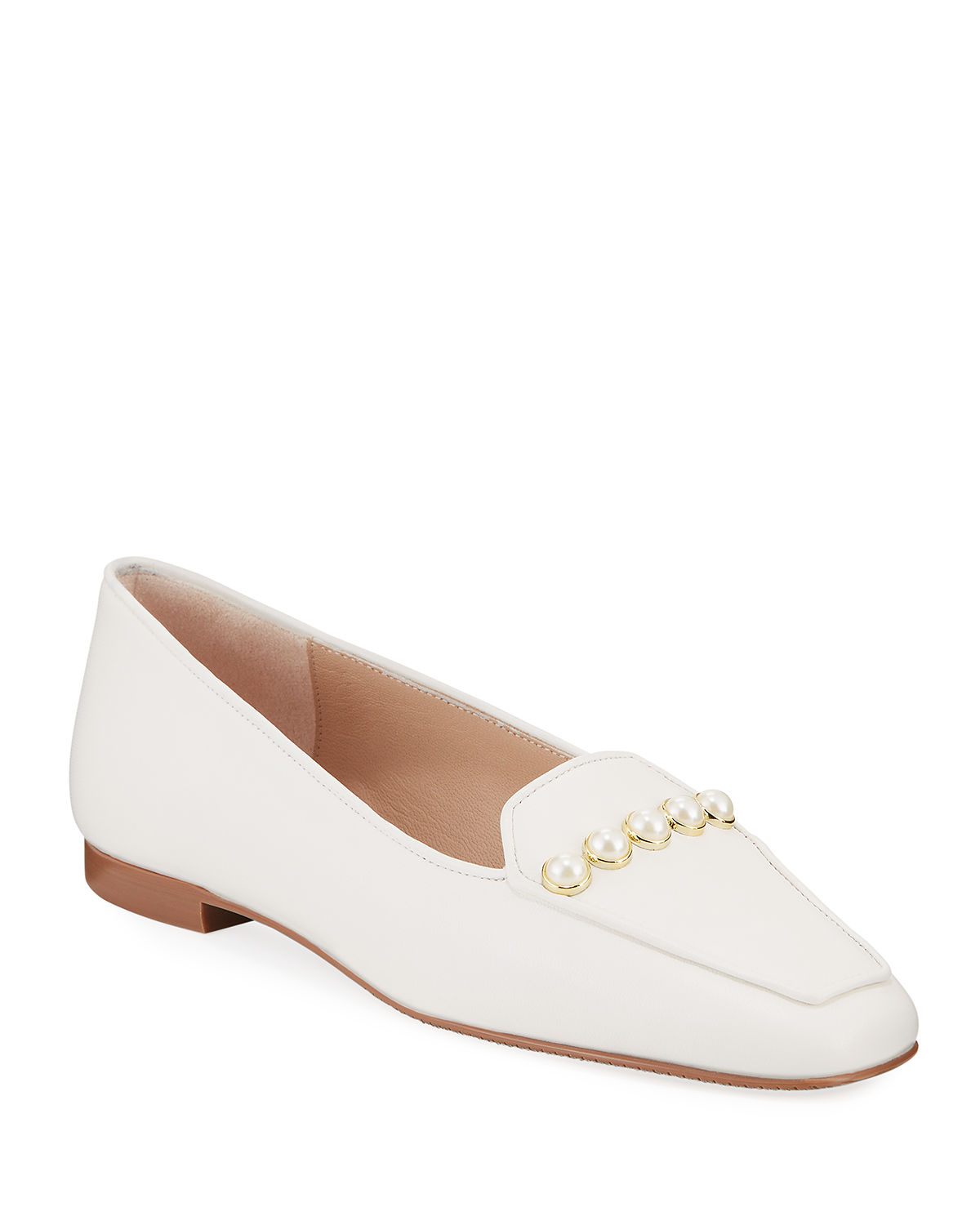 Rosie Pearly-Studded Leather Flat Loafers