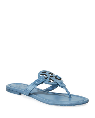 Miller Embossed Leather Flat Sandals