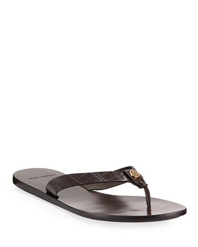 Manon Embossed Leather Thong Sandals