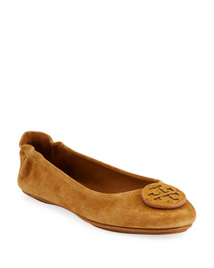 65eaec171eb0 Tory Burch Mini Travel Suede Ballet Flats