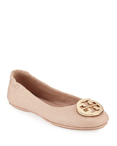 Minnie Quilted Leather Medallion Flats